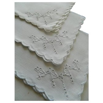 Pristine set of 6 white Irish linen tea napkins with Madeira hand embroidery