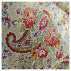 Paisley & pink roses feather filled 1940's cotton eiderdown comforter quilt