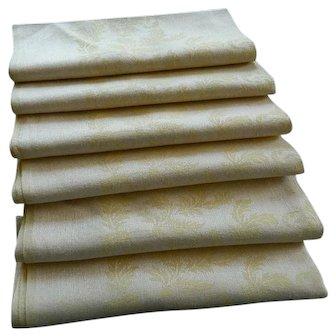 Set of 6 matching vintage pale yellow Irish linen damask napkins