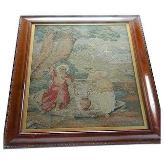 19th Century hand painted and embroidered woolwork picture - Jesus and Rebecca