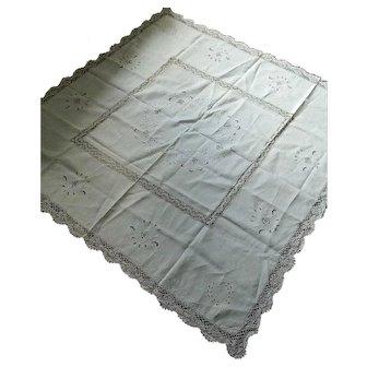 Large Irish linen & bobbin lace tablecloth- hand embroidery & Reticella lace