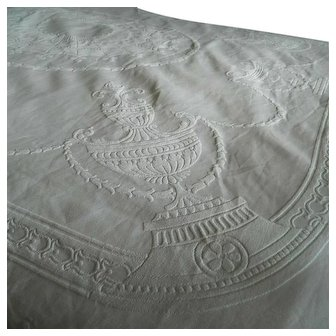 Edwardian white cotton embossed or woven quilted Marcella bedspread - Urns & Laurel leaves