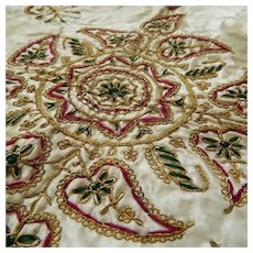 19th century Ottoman Islamic opulent gold metallic couched thread embroidery silk tablecover