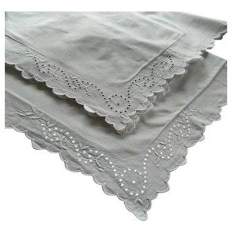 Pair vintage French white square Oxford pillowcases