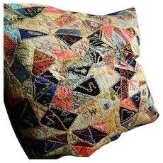 Antique Victorian stunning embroidered silk & velvet crazy patchwork cushion