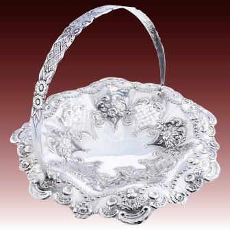 Large Solid Silver Circular Swing Handle Basket 1897