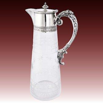 Victorian Silver Mounted Cut Glass Claret Jug 1898