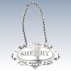 Victorian Solid Silver Decanter Label - (Sherry) - 1848