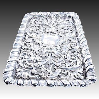 Large Victorian Embossed Solid Silver Dressing Table Tray 1900