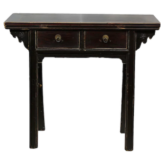 Two Drawer Black Accent Table