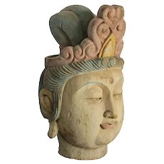Chinese Wood Guan Yin Head with Muti Color Headdress