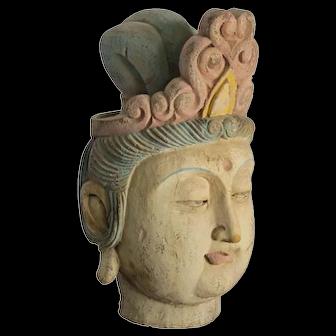 Chinese Wood Guan Yin Head with Muti Color Headdress