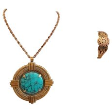 Vintage Copper and Turquoise Necklace with Copper Bracelet