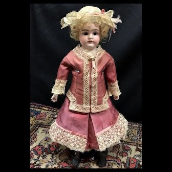 """STUNNING 16"""" Cabinet Doll - Antique Early KESTNER Alphabet A-5 Bisque / Leather"""