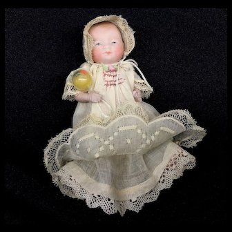 """Miniature 4"""" Bye-Lo Baby ALL-BISQUE German Doll - Grace S Putnam - Lovely Outfit"""