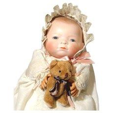 "Grace S Putnam 11"" Bye-Lo Baby Doll - DARLING EYES Bisque Head Frog Body 1272/20"