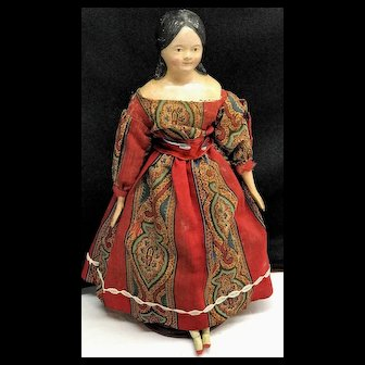 """c.1840s MILLINER'S MODEL Doll 14.5"""" - Terrific Antique Hand-Carved Limbs - Kid Body"""