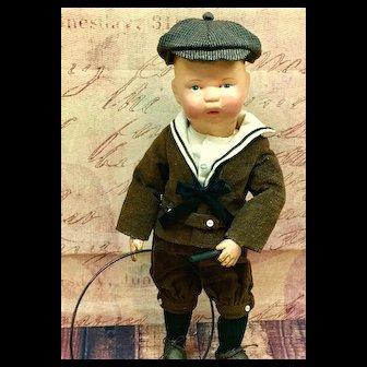 "c.1912 14"" Harry Schoenhut Mold # 14/107 Child-Toddler-Infant Antique Wooden Doll"