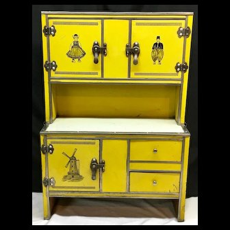 """Rare c.1930s """" Doll Hoosier """" or Child-Size Step-Back Kitchen Cupboard - DUTCH THEME - Tin over Wood"""