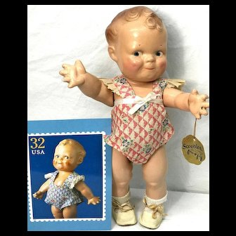 1925 Scootles in RARE ORIGINAL PINK OUTFIT + Hang Tag - Rose O'Neill Cameo Doll Composition (Kewpie Genre)