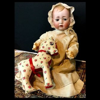 "22"" Rare TOMMY TUCKER Baby Doll c.1900 - 166-13 - Bruno Schmidt / Kley & Hahn - Antique Bisque Head Germany"