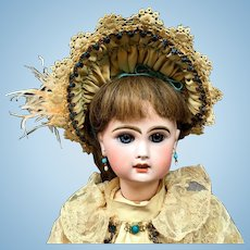 "Early JUMEAU BEBE 21"" Unmarked - Incised "" 7 "" - French Bisque Head Antique Doll"