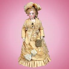 "Rare c.1873 SMILING BRU 14"" Size C - Empress Eugenie / Mona Lisa - Antique French Fashion Doll Smiler"