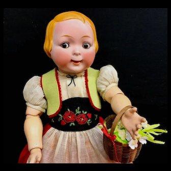 Rare 1914 JUBILEE GOOGLY Doll - 163-6 Hertel Schwab for Strobel & Wilken - German Open Closed Mouth 163 Solid Dome Antique Character Bisque