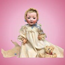 "JD Kestner 18"" ALPHABET SERIES Character Baby Doll - # 211 with Caracul Wig - Bisque Head German Antique J.D. JDK"