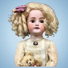 "26"" Early CM Bergmann / Simon Halbig # 7 Doll - c.1890s Antique Bisque Head German C M C. M."