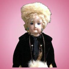 """RARE c.1875 17"""" Francois Gaultier French Fashion Doll - Lady Body - Kid F+G FG"""