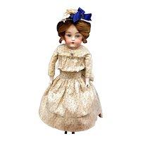 "STUNNING 17"" Auburn Cabinet Doll - KESTNER 154 - Antique German Bisque Head / Leather Body"