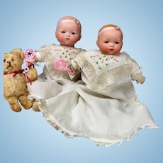 """Twin"" Armand Marseille DREAM BABIES # 341 - Antique Doll Bisque-Head Cloth Body German baby"