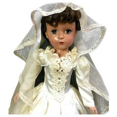 """c.1953 Margaret Face 18"""" BRIDE DOLL by Madame Alexander - Vintage Hard Plastic"""