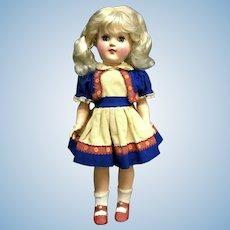 Vtg Ideal Toni # P-91 - Tagged Dress - White Platinum-Blonde Doll - Hard Plastic