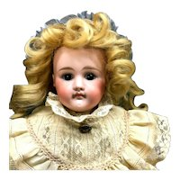 """21"""" POUTY Early Closed-Mouth Unsigned Kestner - (Marked """"6"""") - Antique Bisque Head Kid Lady Body German Doll"""