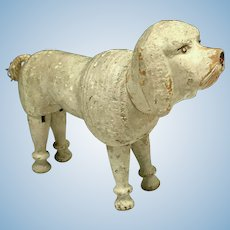 Antique Schoenhut White Circus Poodle - Wooden Dog Humpty Dumpty