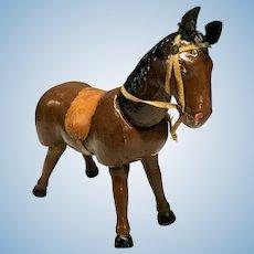 Schoenhut Brown Horse w/ Saddle & Bridle - Humpty Dumpty Circus - Antique Wooden