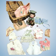 """5"""" Wigged Barefoot Bye-Lo Baby - with TROUSSEAU-LAYETTE - All-Bisque German Antique Doll - Grace Storey Putnam"""