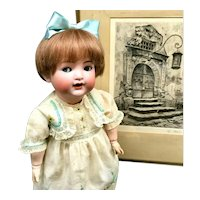 FLIRTY-EYE / WOGGLE TONGUE K*R Simon Halbig # 126 - 11-piece FULLY JOINTED Toddler Body - Character Cabinet Doll Antique German Bisque Head
