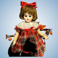 "SCHOOLGIRL & SCOTTY DOG - Early Unsigned Antique 13"" Cabinet Size Mystery Doll - Marked 2/0 - Bisque Head German"