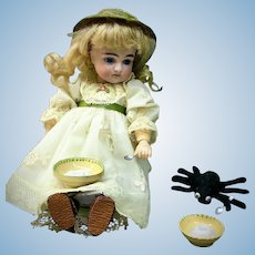 """Rare 9"""" Early Kestner 169 - AS LITTLE MISS MUFFET - Closed Mouth - From the MARY ANN HALL Collection - Closed Mouth - Fully Jointed Antique Doll Bisque Head German"""