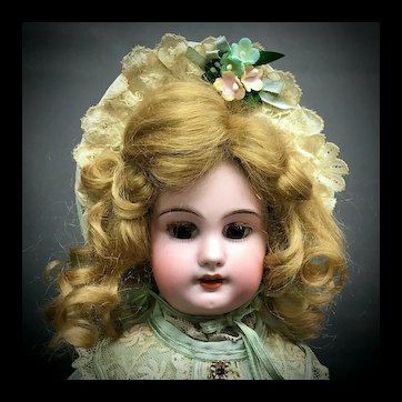 "Antique DEP 4 Jumeau - 14"" Cabinet Size - Rare Molded Teeth - From MARY ANN HALL Collection - French Bisque Doll Unmarked"