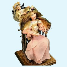 OOAK Vintage FAIRY ART DOLL in Twig Chair - Artist Signed by Linda Kertzman LSK - Great for Valentine's Day