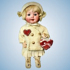 "Valentine Doll - 9"" Antique German Character Toddler - Porzellanfabrik Mengersgereuth PM 914 5/0 Bisque Head"