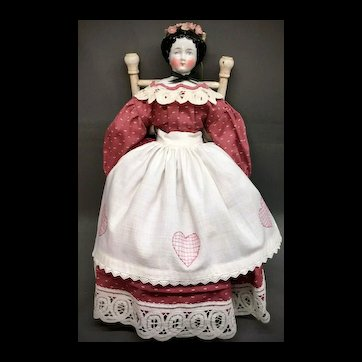 "c.1860s Antique German Lady - China Head Doll 17"" HERTWIG"
