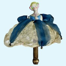 Antique German Lady China Head HALF DOLL as Marotte