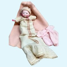 "Grace Putnam 9"" Bye-Lo Baby - Cloth Body Bisque-Head German Antique Doll"