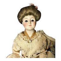 "Early 19"" Kestner 172 Gibson Girl Closed-Mouth Lady-Body Bisque Shoulder-Head Doll"