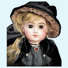 """19"""" Bebe Jumeau - Incised E8J - Closed-Mouth Straight-Wrist French Antique Bisque Head Doll EJ8 - Signed Shoes"""